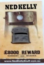 79011 NED KELLY STUFF COLLECTABLE PIN BADGE 11 of 20 CLOSE UP OF NED'S HELMET