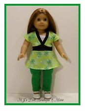 Green Flower Print Top Leggings Set American Girl Doll
