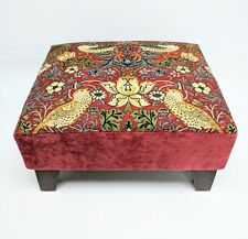 Footstool pouffe William Morris Red Strawberry thief dark wood British made