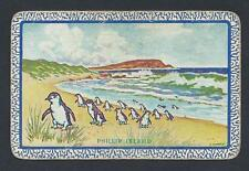 "#150.357 vintage swap card -FAIR- Aust Named, ""Phillip Island"" with penguins"