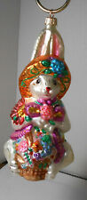 Large Christopher Radko Glass Lady Rabbit with Bonnet Basket Ornament