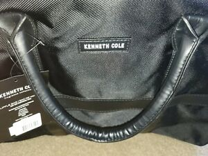 KENNETH COLE Mens 2 Front Snap POCKETS Weekender GYM Travel DUFFEL Bag Black NWT