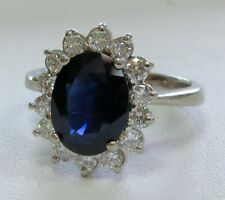 18K GOLD RING WITH 3.27ct OVAL BLUE SAPPHIRE & GEM DIAMONDS SIZE 7 3/4