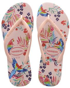 Havaianas Women`s Flip Flops Slim Tropical Floral Sandal Ballet Rose Sandals NWT