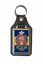 PRINCESS OF WALES'S ROYAL REGIMENT CAP BADGE ON A LEATHER STYLE KEY RING.