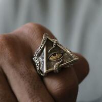 Vintage Triangle Pyramid God Eye Stainless Steel Ring Men Head Biker Mason Ring