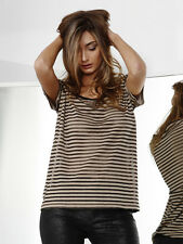 FATE~Clio Sheer Tee in Latte/Black Opaque Stripe Size 8 (fit 10) BNWT RRP $69.95
