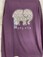 Ivory Ella Fit Foil Mosaic Purple Elephant Logo Long Sleeve T Shirt Top Tee Sz S