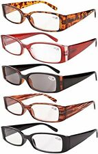 Spring Hinge Plastic Reading Glasses 5 Pairs Includes Sunglass Readers +3.50