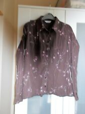 NEW LOOK SZ 12 POLYCOTTON TOP BLOUSE SHIRT BROWN PINK LONG SLEEVES VGC