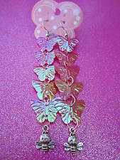 Long Earrings 3 1/2 Inches Long Usa Hot Pink Prism Sequin Butterfly and Bee
