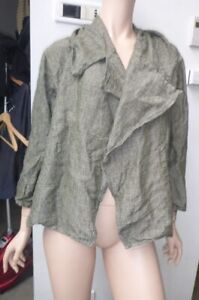 the jump japan free sz green linen jacket in ex condition japanese