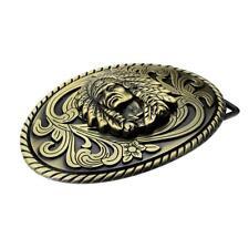 Vintage Antique Bronze Indian Chief Head Oval Belt Buckle for Leather Belt