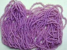 "Purple Lavender GLOW Vintage Glass Transparent 11/0 Seed Beads 20"" Hank(7215729)"