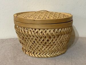 Asian Bamboo Basket with Lid Φ16cm