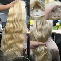 Natural Long Wavy Blonde Remy Human Hair 360 Lace Front Wig Full Wigs Baby Hairp
