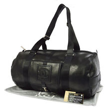 Auth CHANEL Sports Line CC Travel Hand Bag Purse Black Leather Italy RK12315