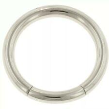 """Steel Navel 14K Solid White Gold Segement Ring 16g 5/16"""""""