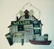 PRIMITIVE / CABIN / FISHING DECOR Tackle Bait shop Door Wood wall Sign plaque