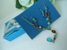 STYLISH! US AVON TEAL & TOPAZ Colored Tassel Choker Necklace Earrings Set Nice