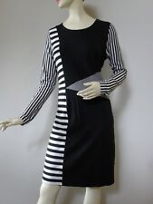 Kamikaze 14 black white winter stretch dress long sleeves geometric like new