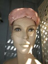 FABULOUS PINK FLOWER SPRING HAT VINTAGE 1950s GREAT WEDDING ACCESSORY