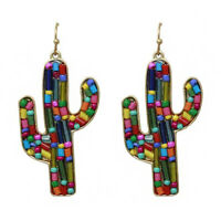 FUN SUMMER red turquoise BEADED GOLD CACTUS SOUTHWEST EARRINGS WESTERN COWGIRl