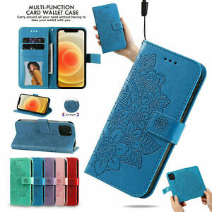 Embossed Flower Flip Cover Leather Wallet Case For iPhone 13 11 Pro Max 12 Mini