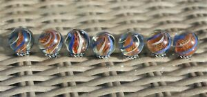 Quality Marbles -  awesome bunch of 7 same cane latticinio core marbles - VER514