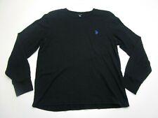 U.S. Polo Assn Shirt Adult Large Black Blue Pony Long Sleeve Waffle Knit Mens