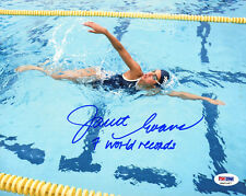 Janet Evans SIGNED 8x10 Photo + 7 World Records Swimmer ITP PSA/DNA AUTOGRAPHED