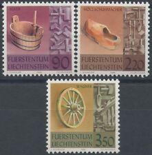 1998 LIECHTENSTEIN N°1121/1123** Artisanat outil baquet sabot roue en bois,  MNH