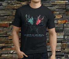 New SAO Sword Art Online Kirito Anime Cartoon Men's Black T-Shirt Size S-3XL