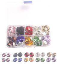 One BOX of 120PCS Mixed colors and Sizes Rhinestone Glass Rivoli Crytsal Stone W