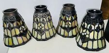 Set Of 4 Stained Glass Light Shades Ceiling Fan Globes Pendant Covers
