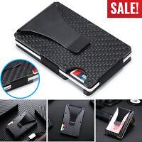 RFID Blocking Carbon Fiber Minimalist Money Clip Front Pocket Mens Wallet NEW