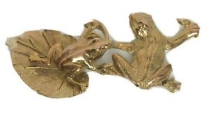 """Women's Belt Buckle Frogs Lily Pad Gold Tone Metal-Holds 2""""W Belt-Large 5.5"""""""
