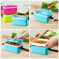 Microwave Plastic Bento Lunch Box Picnic Food Container Large Spoon Storage