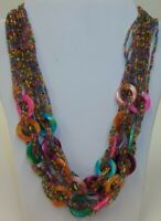Vtg Multi Strand Colorful Glass Seed Bead Necklace with Polished Stones
