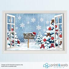 Merry Christmas Scene TreeWindow View Decal Wall Sticker Decor Home Art Mural