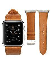 pour APPLE MONTRE SÉRIES 2 3 orange vintage bracelet en cuir véritable