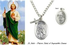 St. Jude Patron Saint of Hope and Impossible Causes Medal Neck with Cross Dangle