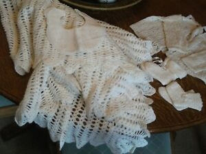 VINTAGE WHITE HAND KNITTED BABY LAYETTE, SHAWL , 2 PAIRS BOOTTEES, JACKET, BIB
