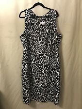 Calvin Klein Sheath Dress 22W Leopard Print Back Gold Zipper Sleeveless Lined
