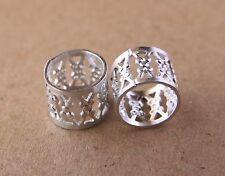 30 9mm (3/8 Inch) Silver Filigree Dreadlock Beads Dread Cuffs + Free Ring