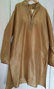 Mens Gold Embroidered beaded Eid Size XL 48 Shalwar Kameez