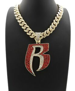 ICE BLING MIAMI CUBAN CHAIN WITH RUFF RYDERS PIECE