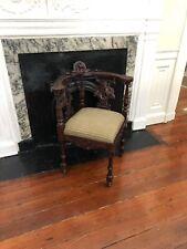 Antique Mahogany Continental Corner Chair hand carved Cherubs   Victorian