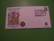 ROYAL MINT 1984 SCOTTISH BU ONE POUND COIN COVER PNC REGIONAL STAMP WITH SHS CAN