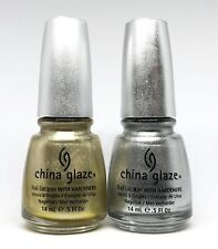 china glaze nail polish Midnight Kiss 890 + Cheer To You 891 Gold & Silver Foil